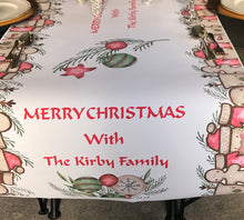 Load image into Gallery viewer, Christmas table runner decoration personalised family christmas table cloth gingerbread reindeer santa
