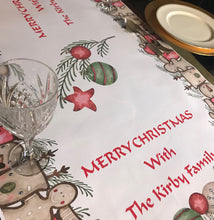 Christmas table runner decoration personalised family christmas table cloth gingerbread reindeer santa