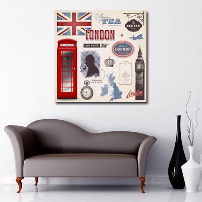 British icons union jack, red telephone box, big ben, map uk