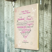 Husband vow canvas valentines day personalised gift