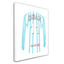 Huddersfield blue and white  personalised football shirt canvas