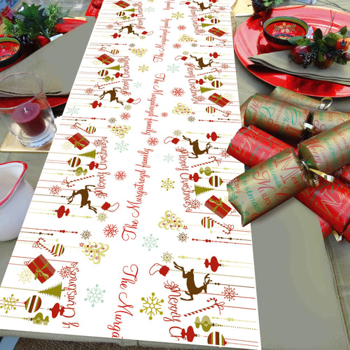 Christmas Table runner, personalised, personalized, stag, candy cane, bauble, presents, Christmas Tree, Christmas dinner table decoration
