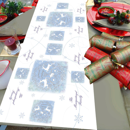 Personlaised Christmas Table Runner Stag snowflake ice blue Festive christmas dinner table decorations