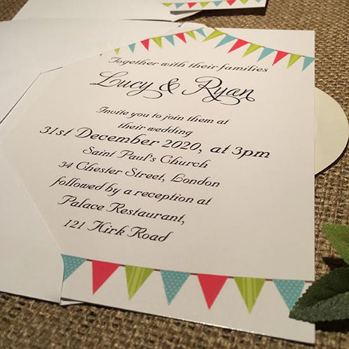 Wedding invitation personalised created to order Bunting day invite evening invitation