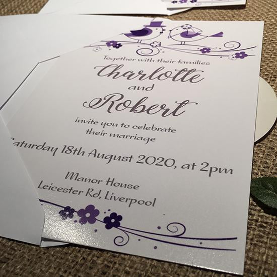 Wedding invitation personalised created to order Love Birds  day invite evening invitation