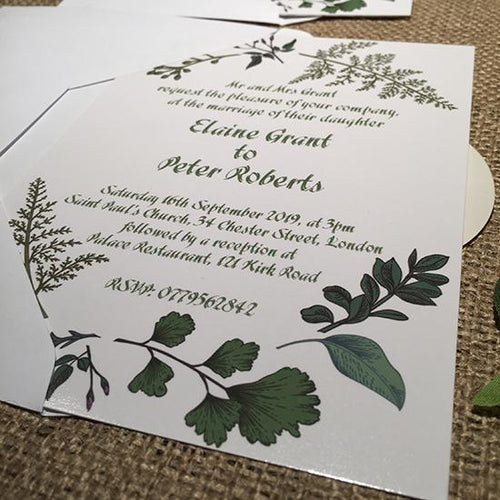 Wedding invitation personalised created to orderoriental green leaves day invite evening invitation
