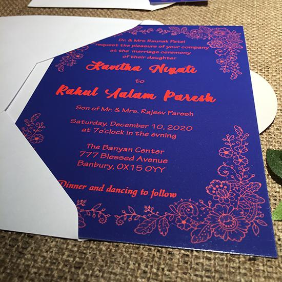 Wedding invitation personalised created to order intricate design invite evening invitation
