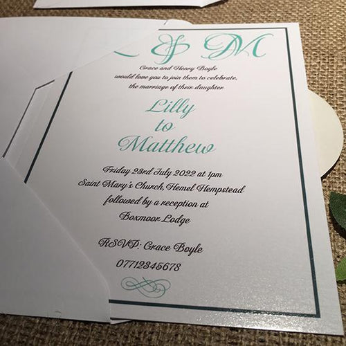 Wedding invitation personalised created to order bride and groom initials  day invite evening invitation