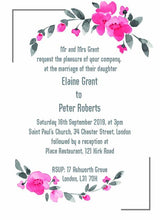 Wedding invitation personalised created to order winter rose invite evening invitation