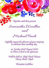 Wedding invitation personalised created to order watercolour poppy design day invite evening invitation