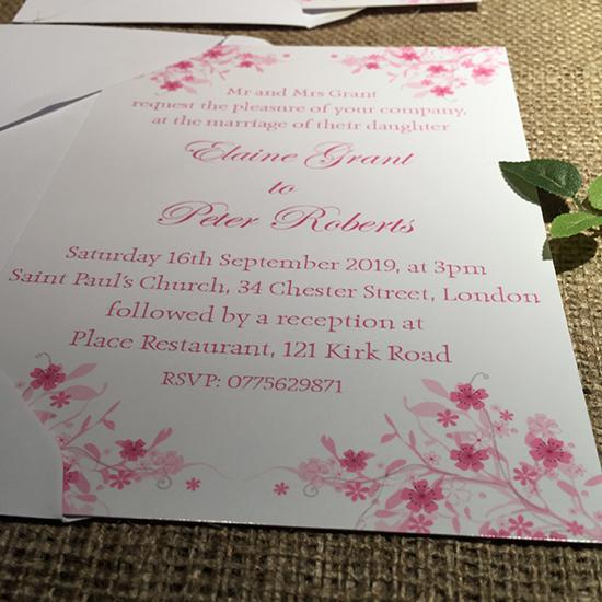 Wedding invitation personalised created to order spring blossom day invite evening invitation