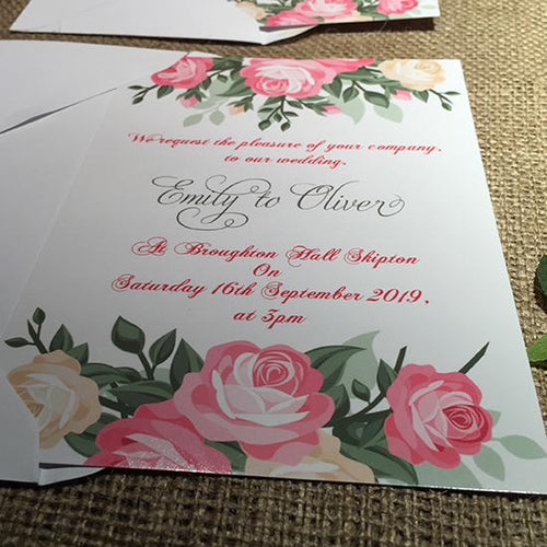 Wedding invitation personalised created to order watercolour vintage rose day invite evening invitation