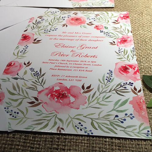 Wedding invitation personalised created to order watercolour pastel roses day invite evening invitation