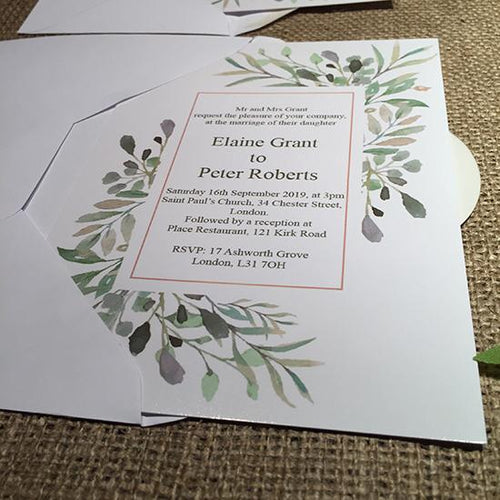 Wedding invitation personalised created to order watercolour fauna day invite evening invitation