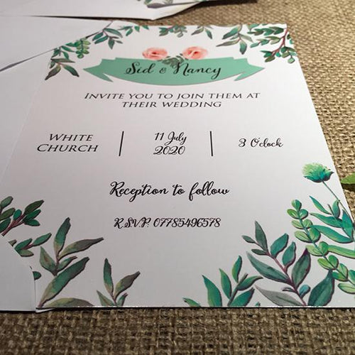 Wedding invitation personalised created to order greenery Folliage day invite evening invitation