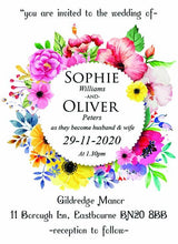 Wedding invitation personalised created to order summer flower circle day invite evening invitation