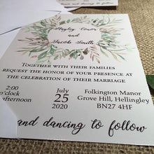 Load image into Gallery viewer, Wedding invitation personalised created to order watercolour green floral invite evening invitation