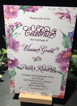 Load image into Gallery viewer, Wedding invitation personalised created to order watercolour Gerbera border day invite evening invitation