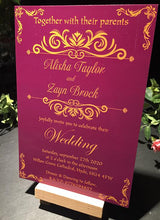 Load image into Gallery viewer, Wedding invitation personalised created to order eastern spice day invite evening invitation