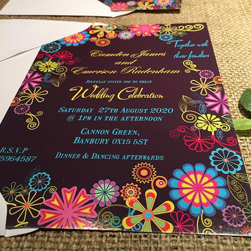 Wedding invitation personalised created to order psycheledic day invite evening invitation