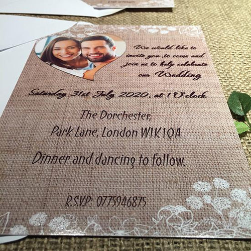 Wedding invitation personalised created to order your photo heart hessian day invite evening invitation