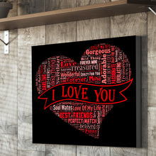 I LOVE YOU Text heart montage canvas valentines gift