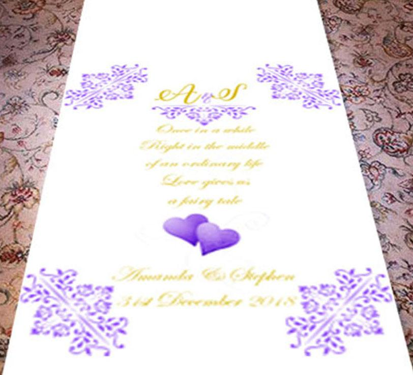 Personalised wedding aisle runner ordinary lift theme intials and text