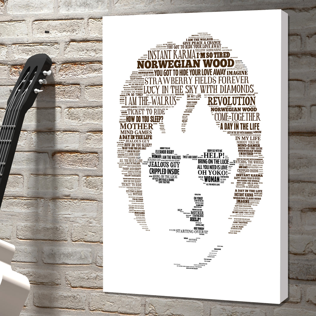 John Lennon rock icon word art canvas