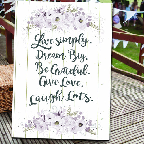 Live Simply Dream Big wedding canvas venue bride and groom gift
