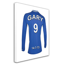 Load image into Gallery viewer, Leicester City blue and white  personalised football shirt canvas
