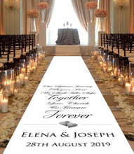 personalised wedding aisle runner hearts lifetime journey