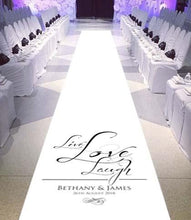 personalised wedding aisle runner live love laugh
