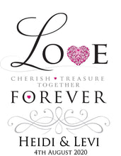 Load image into Gallery viewer, Personalised Aisle runner LOVE treasure forever cherish pink heart bride and groom