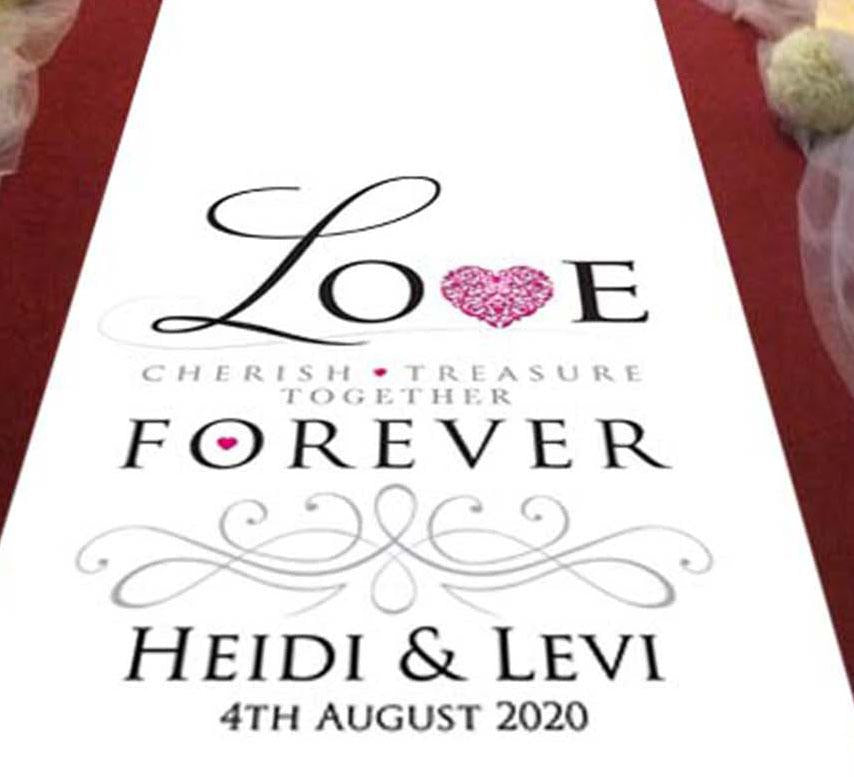 Personalised Aisle runner LOVE treasure forever cherish pink heart bride and groom