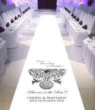 personalised wedding aisle runner doves love story