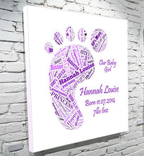 Load image into Gallery viewer, Baby foot birth announcement word art DOB weight birthday canvas gift christening