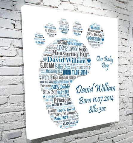 Baby foot text art birth christening gift