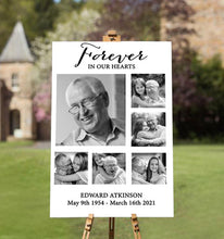Load image into Gallery viewer, forever in our hearts memorial picture ideal for funerals & celebrating the life of loved one passed