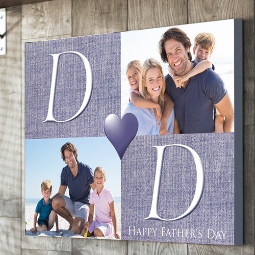 Dad Father's Day 2 images personalised gift canvas