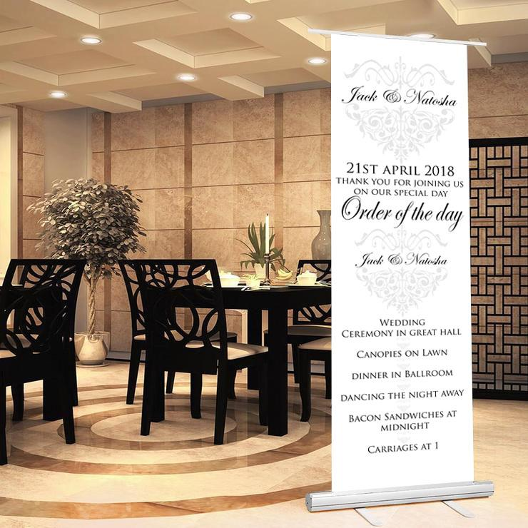 Wedding sign wedding banner welcome to wedding sign order of the day sign bride groom date of wedding wedding proceedings.majestic theme