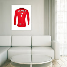 Manchester United Football Club red personalised football shirt canvas