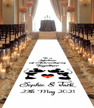 Load image into Gallery viewer, Mickey & Minnie mouse personalised wedding aisle runner