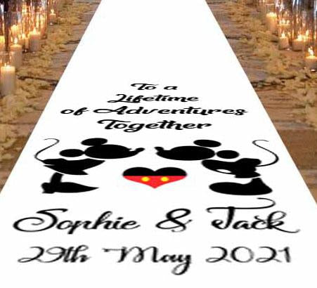 Mickey & Minnie mouse personalised wedding aisle runner