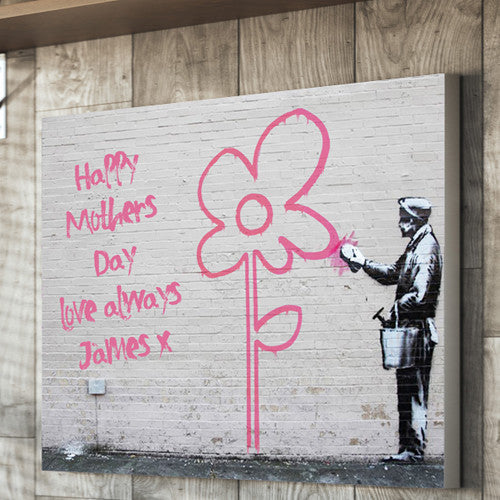 Mother's Day Flower Wall Banksy Canvas Personalised