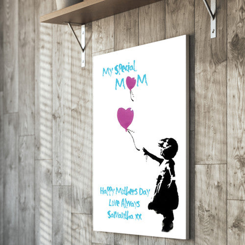Mother's Day Canvas Banksy Little Girl Love Balloon personalised gift