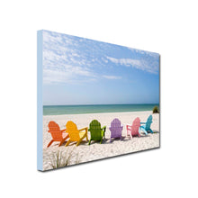 Load image into Gallery viewer, Beach chairs on a beach Art Canvas