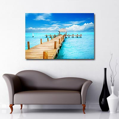 Boat dock at Sea paradise Art Canvas