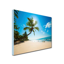 palm tree on beach art canvas
