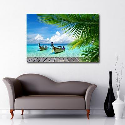 Boats on the sea palm tree canvas
