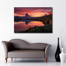 Landscape canvas of Matterhorn reflection at sunset in lake